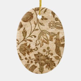 Vintage Sepia Floral Pattern Design Ceramic Oval Decoration