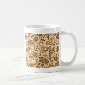 Vintage Sepia Floral Pattern Design Coffee Mug