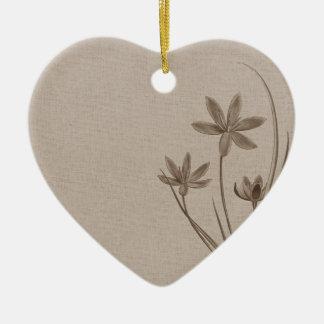 Vintage Sepia Flowers Ceramic Heart Decoration