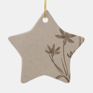 Vintage Sepia Flowers Ceramic Star Decoration