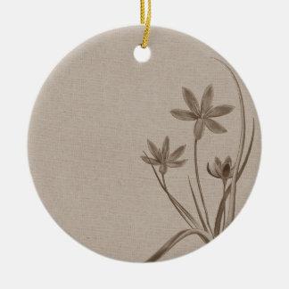 Vintage Sepia Flowers Round Ceramic Decoration
