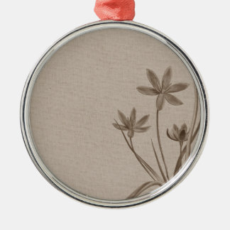Vintage Sepia Flowers Silver-Colored Round Decoration