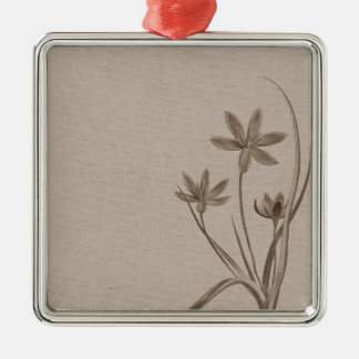 Vintage Sepia Flowers Silver-Colored Square Decoration