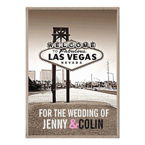Vintage Sepia Las Vegas Modern Wedding Invites Invitations