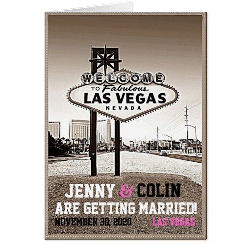 Vintage Sepia Las Vegas Photo Save The Date Greeting Cards