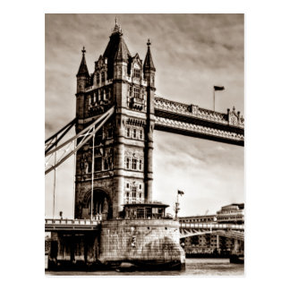 Vintage Sepia London Tower Bridge Postcard