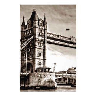 Vintage Sepia London Tower Bridge Stationery Paper