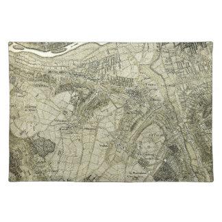 Vintage Sepia Map of Paris, France Placemats