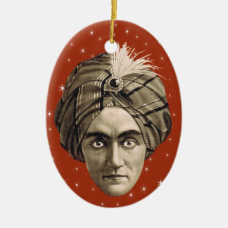 Vintage Sepia Photo Mysterious Genie Head Turban Christmas Ornament