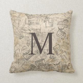 VINTAGE SEPIA PRINT Monogram Pillow
