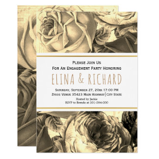 Vintage sepia rose floral wedding engagement party card