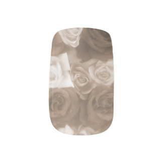 Vintage Sepia Roses Decals Nail Wrap
