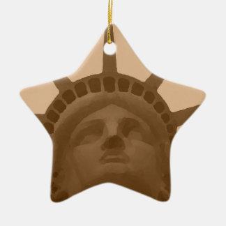 Vintage Sepia Tone Statue of Liberty Ceramic Star Decoration