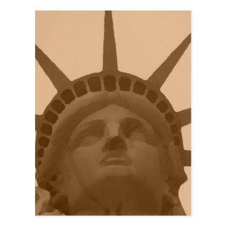 Vintage Sepia Tone Statue of Liberty Postcard