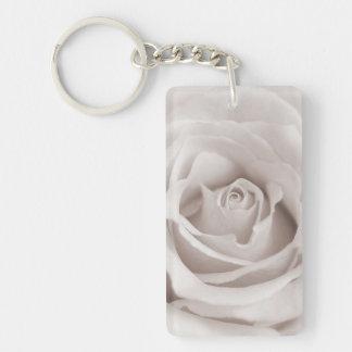 Vintage Sepia White & Cream Rose Background Custom Double-Sided Rectangular Acrylic Key Ring