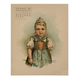 Vintage September 1891 beautiful children drawing Poster
