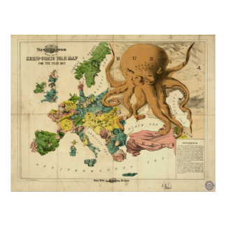 Vintage Serio Comic War Map For The Year 1877 Poster