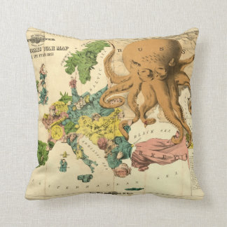 Vintage Serio Comic War Map For The Year 1877 Throw Pillow
