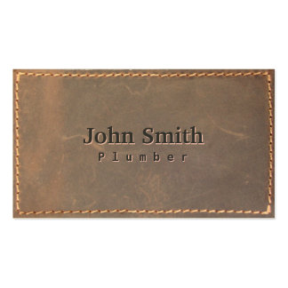 Vintage Sewed Leather Plumbing Business Card