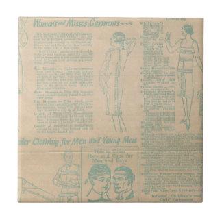 Vintage Sewing Advertisement Blue Ceramic Tiles