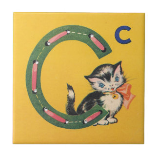 Vintage Sewing Card C is for Cat Ceramic Tile