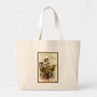 Vintage Sewing Machine Ad w/ Girl Jumbo Tote Bag
