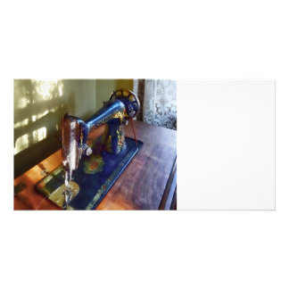 Vintage Sewing Machine and Shadow Customised Photo Card