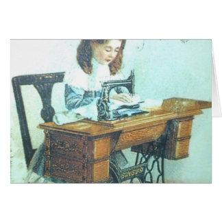 Vintage Sewing Machine Greeting Card