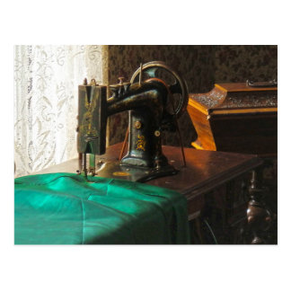 Vintage Sewing Machine Near Window Postcard