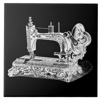 Vintage Sewing Machine Retro Machines White Black Large Square Tile