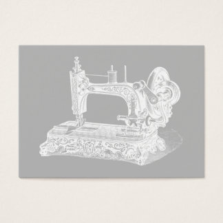 Vintage Sewing Machine - Retro Machines White Gray Business Card