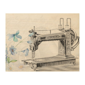 Vintage Sewing Machine with Flowers Wood Wall Decor
