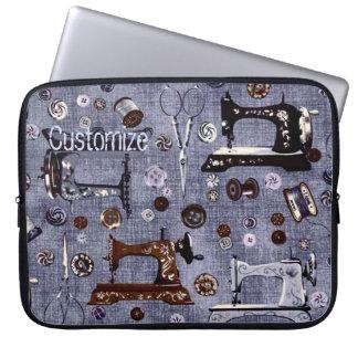 Vintage Sewing Machines Seamstress Laptop Sleeve