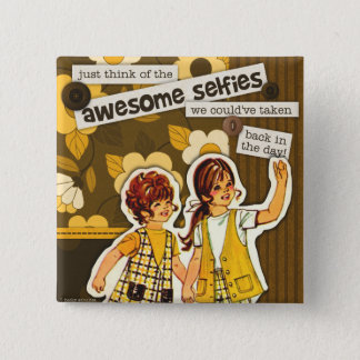 """Vintage Sewing Pattern Art"" Selfie Square Button"