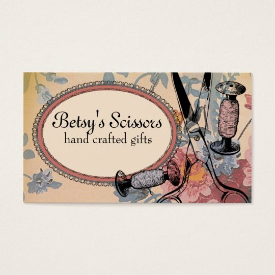vintage sewing seamstress scissors thread spools business card