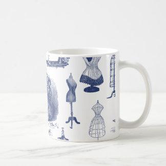 Vintage Sewing Toile Basic White Mug