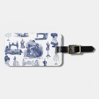 Vintage Sewing Toile Luggage Tag