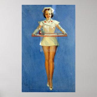 Vintage Sexy Nurse Uniform Poster