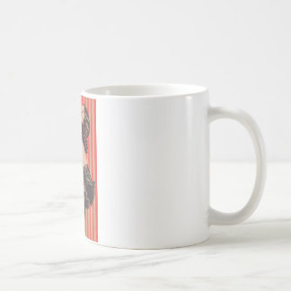 Vintage Sexy Risque Pinup Girl Rose Topless Basic White Mug