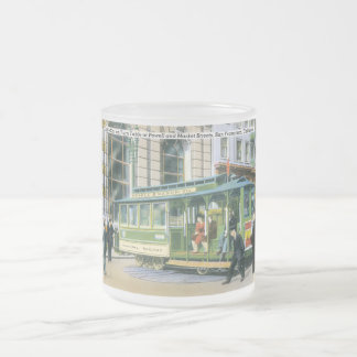 Vintage SF Cable Car Frosted Glass Mug