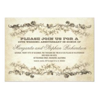 "vintage shabby anniversary invitations 5"" x 7"" invitation card"