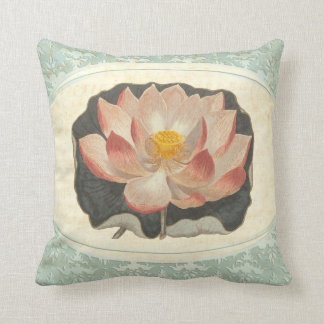 Vintage Shabby Botanical Peach Lotus Blossom Yoga Cushion