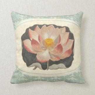 Vintage Shabby Botanical Peach Lotus Blossom Yoga Cushions