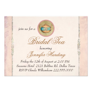 Vintage Shabby Bridal Tea Party Personalized Invitations