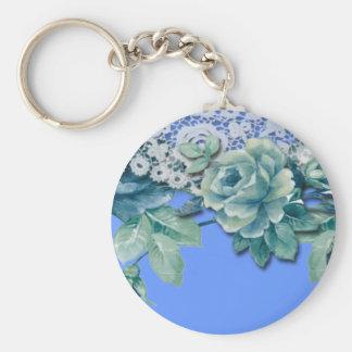 Vintage Shabby Chic Blue Rose Keychain