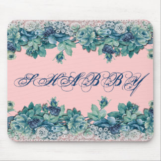 Vintage Shabby Chic Blue Roses Mousepad