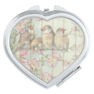 Vintage Shabby Chic Floral Birds Faded Design Compact Mirror