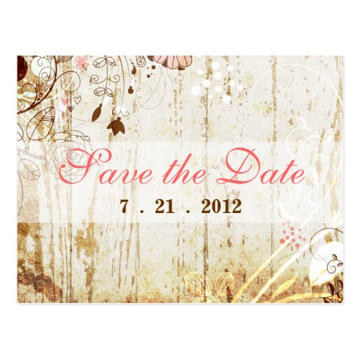 Vintage Shabby Chic Floral  Save the Date Postcard