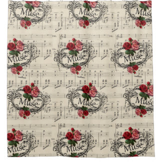 Vintage  Shabby Chic Floral Sheet Music Notes Muse Shower Curtain