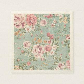 Vintage shabby chic floral teal pink girly elegant paper napkin